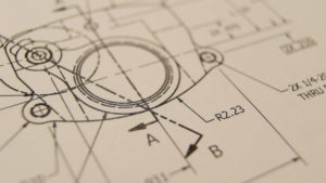 Detail view of an engineering drawing