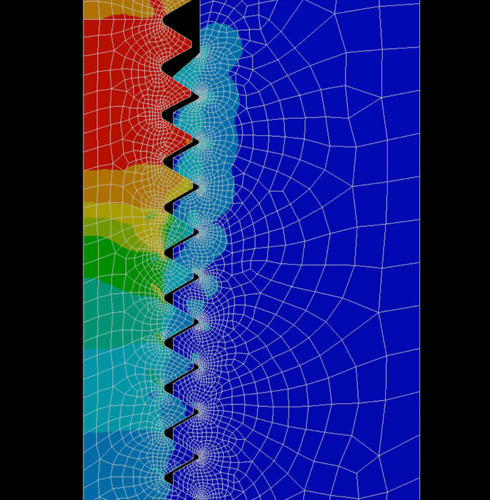 An FEA showing that most of the stress is carried by the first few threads in a workpiece